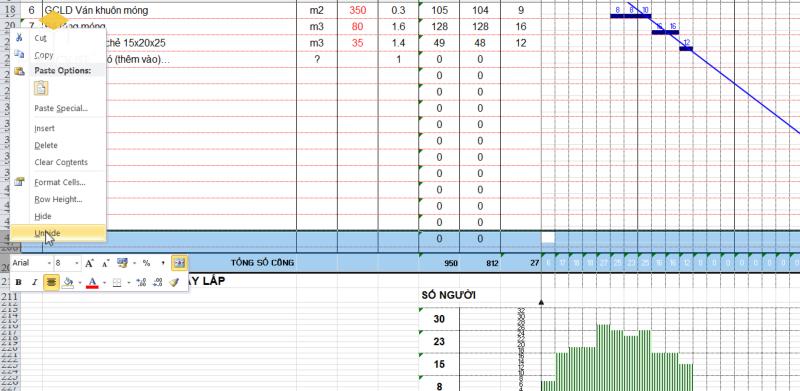 Vậy là công việc vẽ biểu đồ tiến độ thi công đã thực hiện rất đơn giản trong excel, các bạn có thể tùy chỉnh trên giao diện excel của mình.
