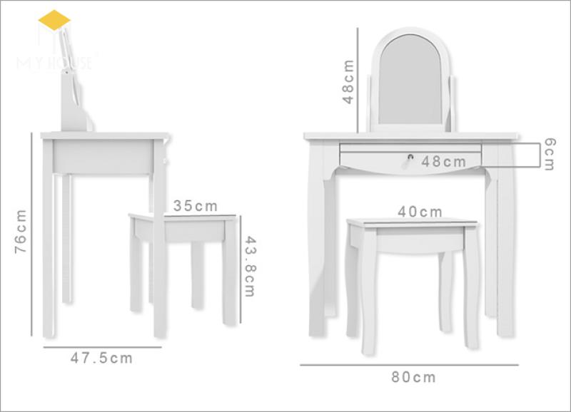 Kích thước bàn trang điểm lớn