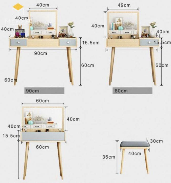 Kích thước bàn trang điểm 1