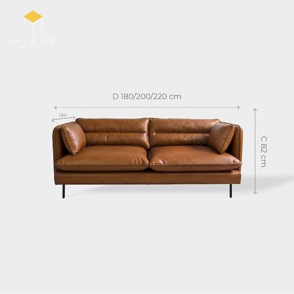 Kích thước sofa văng da: R86xD180/200/220cmxC82cm