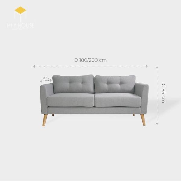 Kích thước sofa văng 2 chỗ: R 73 x D180/200 cmx C 85 cm