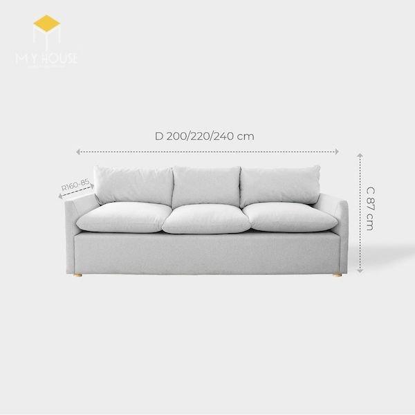 Kích thước sofa văng 3 chỗ: R 160 - 85 x D 200/220/240 cmx C 87 cm