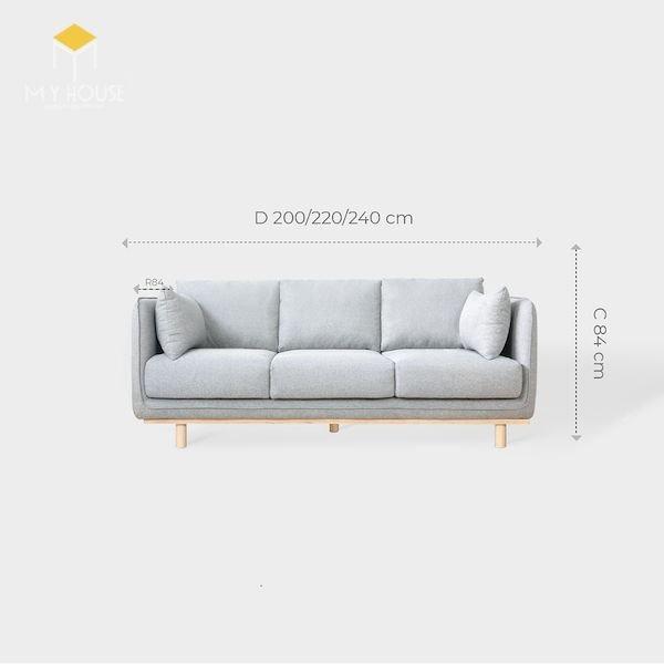 Kích thước sofa văng 3 chỗ: R 84 x D 200/220/240 cm x C 87 cm