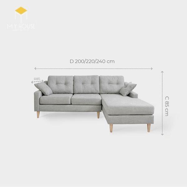 Kích thước sofa góc: R 85 x D 200/220/240 cm x C 85 cm