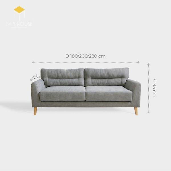 Kích thước sofa góc: R 85 x D 180/200/220 cm x C 95 cm