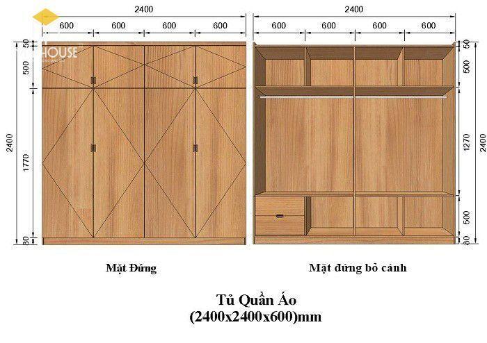 Kích thước tủ quần áo âm tường
