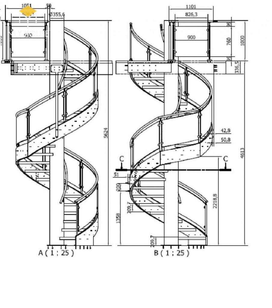 Bản vẽ mặt cắt cầu thang xoắn ốc