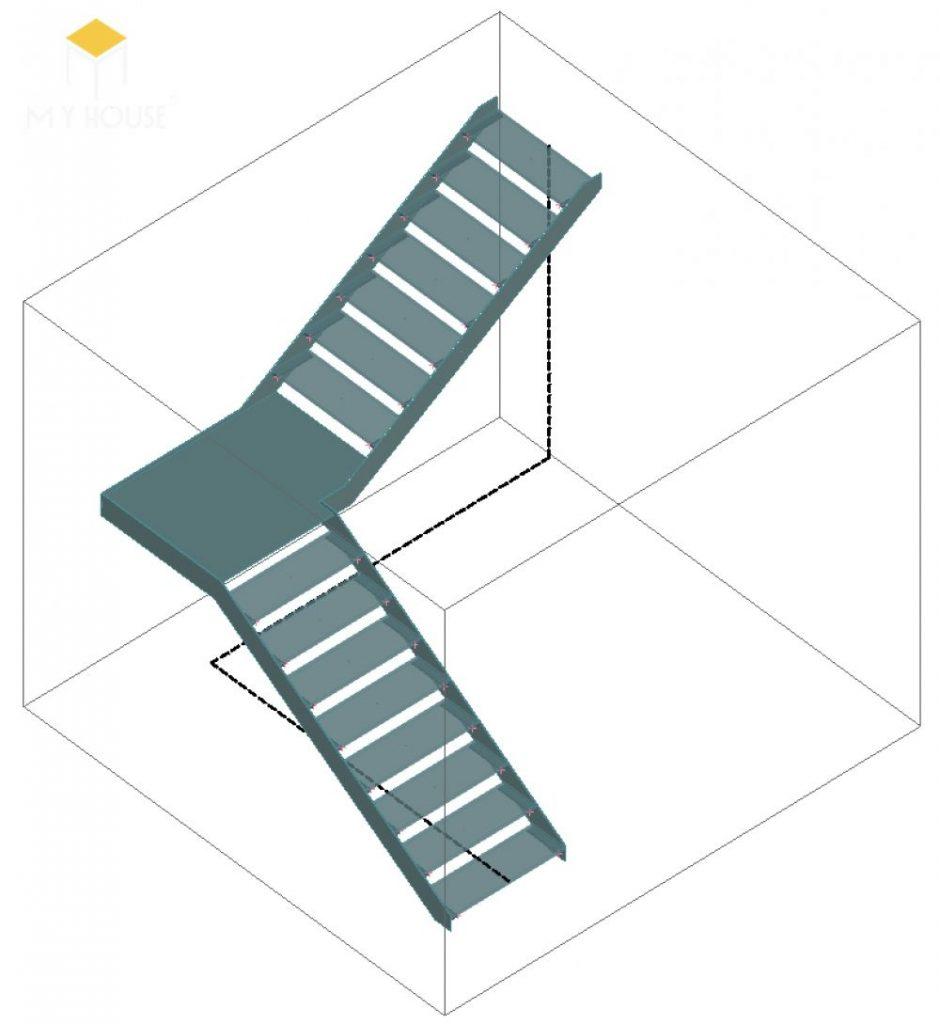 Mặt cắt cầu thang chữ L