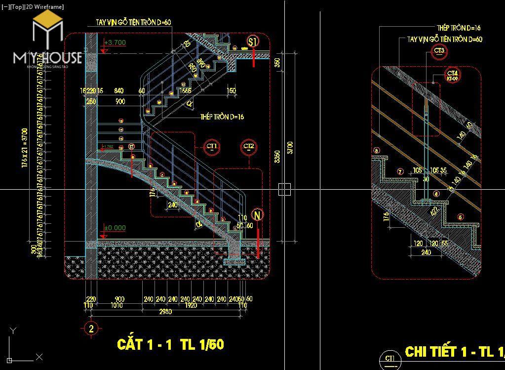 Mẫu thiết kế mặt cắt cầu thang phổ biến