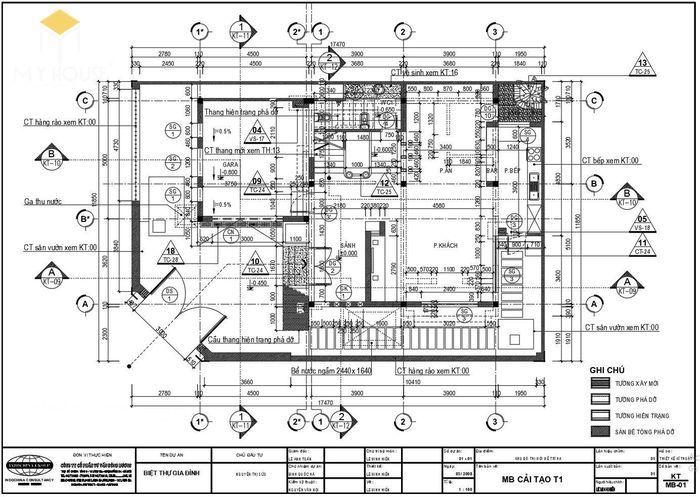 Bản vẽ kiến trúc nhà biệt thự hiện đại - V3