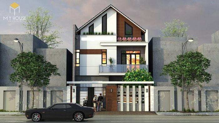 Bản vẽ kiến trúc nhà phố 3,7x16m - V1