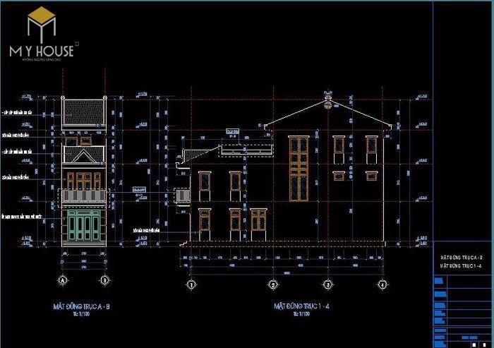 Bản vẽ kiến trúc nhà phố 3,7x16m - V3