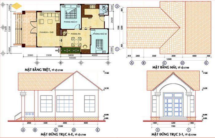 Bản vẽ thiết kế kiến trúc nhà ở là một bộ hồ sư từ 80-200 trang A3 gồm 3 phần chính