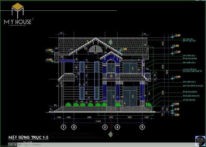 Bản vẽ kiến trúc nhà biệt thự vườn - V3