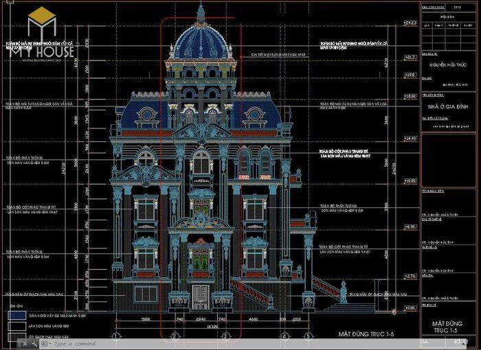 Bản vẽ thiết kế kiến trúc biệt thự lâu đài - V1