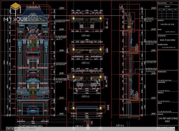Bản vẽ thiết kế kiến trúc biệt thự lâu đài - V2