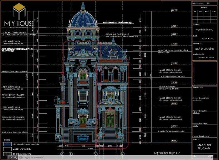 Bản vẽ thiết kế kiến trúc biệt thự lâu đài - V3