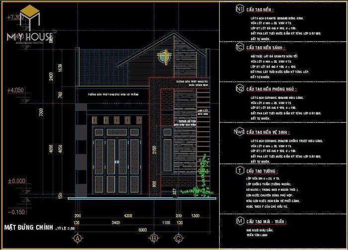 Bản vẽ kiến trúc nhà cấp 4 - V2