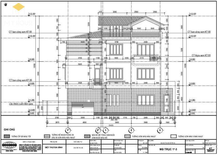 Bản vẽ kiến trúc nhà biệt thự hiện đại - V2
