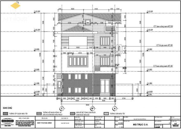 Bản vẽ kiến trúc nhà biệt thự hiện đại - V1