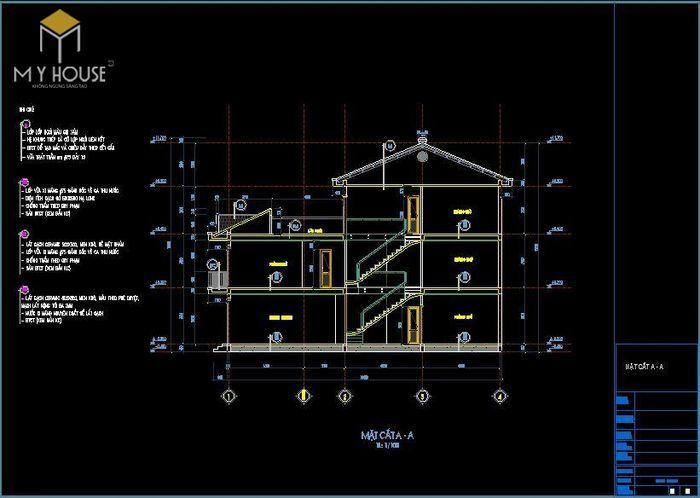 Bản vẽ kiến trúc nhà phố 3,7x16m - V2