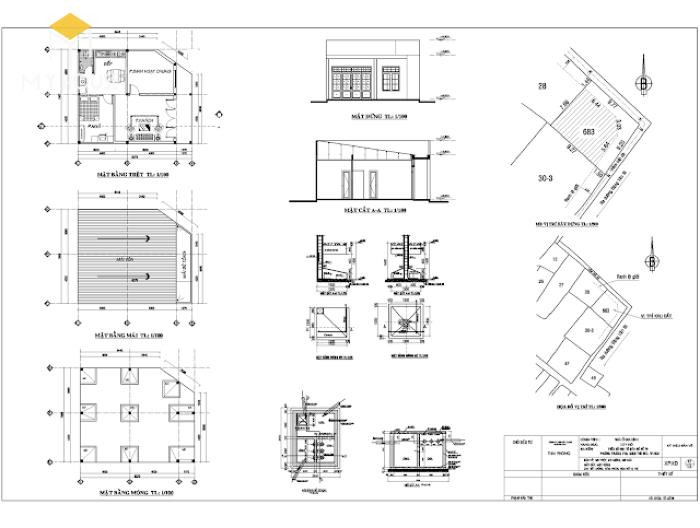 Bản vẽ xin phép xây dựng nhà cấp 4 - M1