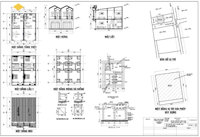 Bản vẽ xin phép xây dựng nhà phố - M2