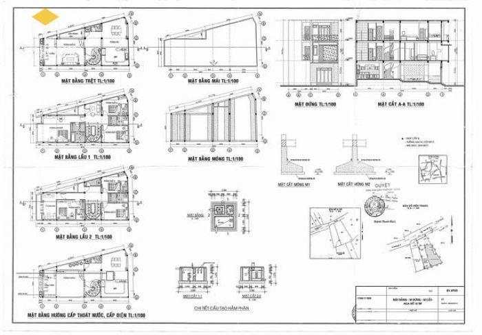 Bản vẽ xin phép xây dựng nhà phố - M3