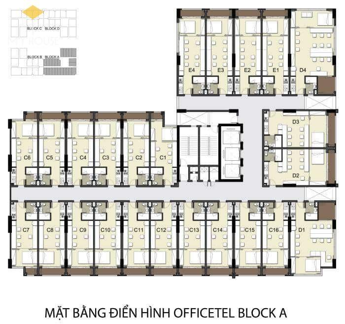Mặt bằng các căn hộ Officetel