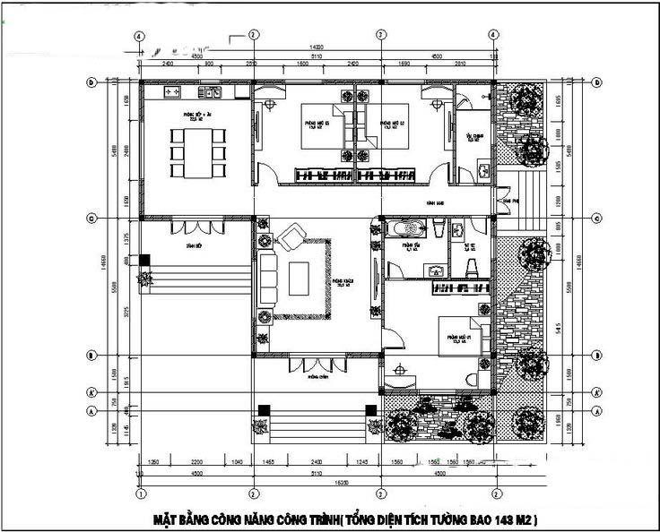 Mẫu nhà cấp 4 mái thái 150m2 3 phòng ngủ