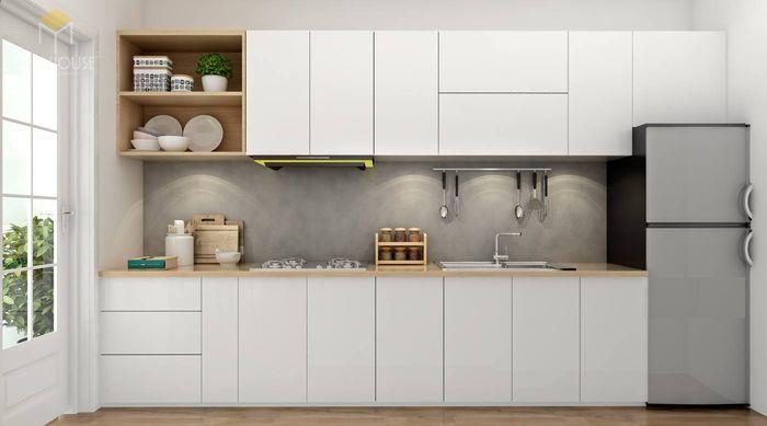 Bản vẽ 3D tủ bếp hiện đại kèm quầy bar
