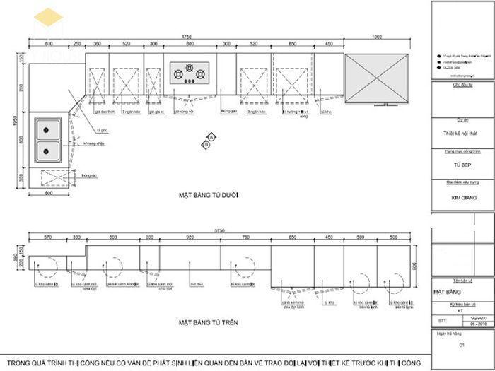Bản vẽ 2D tủ bếp hiện đại kèm bàn đảo