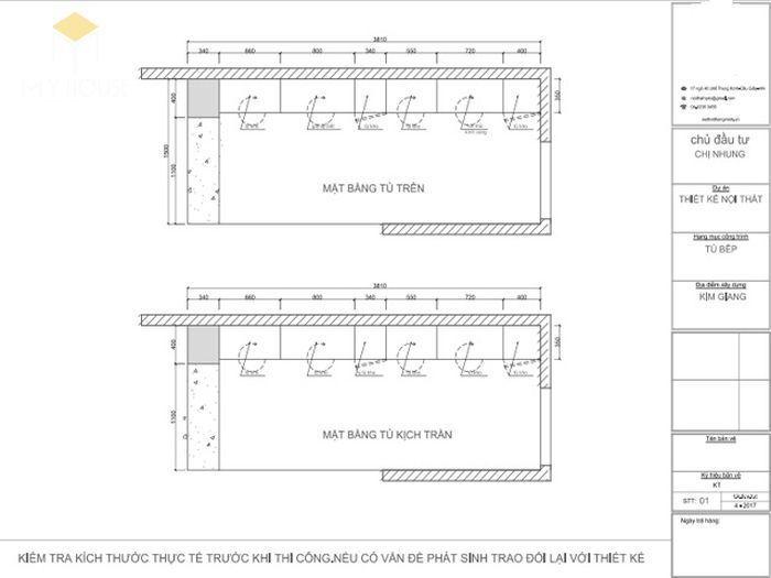 Bản vẽ 2D tủ bếp hiện đại chữ I