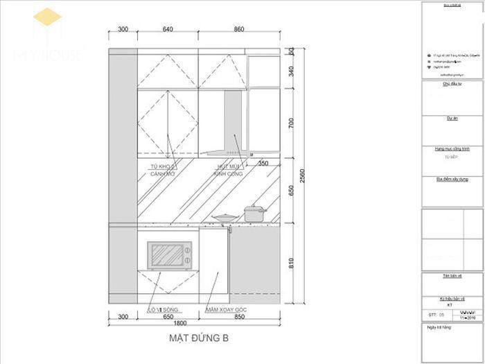 Bản vẽ 2D tủ bếp gỗ hình chữ L