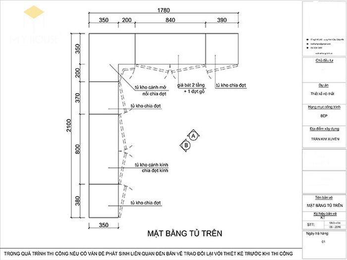 Bản vẽ 2D tủ bếp hiện đại kèm quầy bar