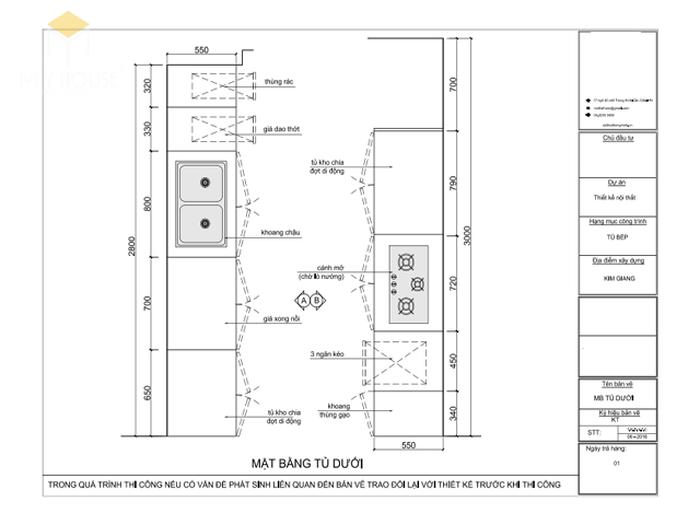 Bản vẽ 2D tủ bếp song song