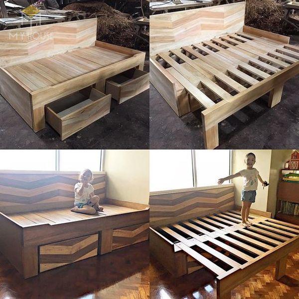 Ghế sofa gỗ kéo ra thành giường 23