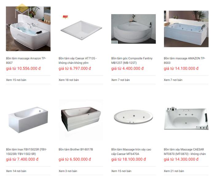 Báo giá nội thất phòng tắm - Bảng 4