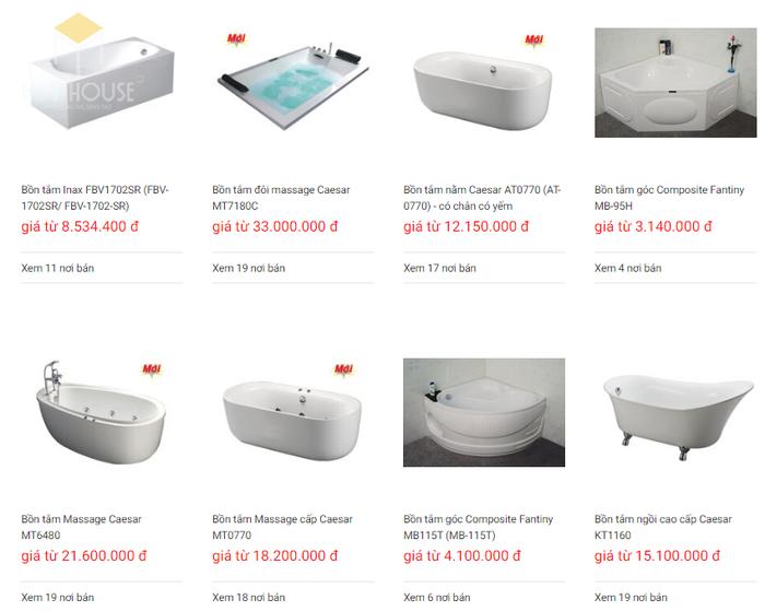 Báo giá nội thất phòng tắm - Bảng 1