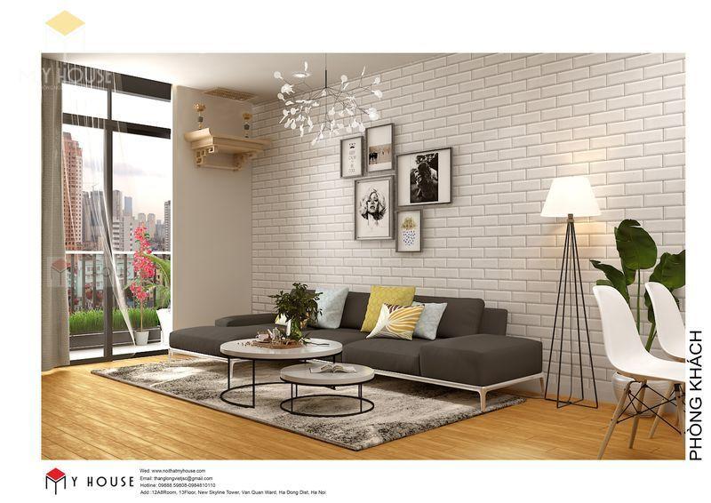 Bố trí nội thất phòng khách đơn giản - View 1
