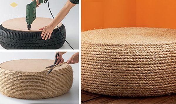 Bàn ghế Handmade bằng lốp xe