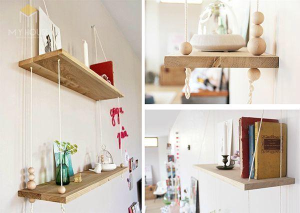 Tủ sách treo tường dạng dây thiết kế đơn giản tiện dụng