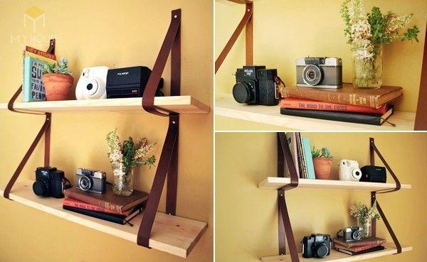 Tủ sách treo tường bằng dây thừng