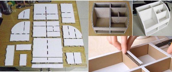 Cách làm kệ sách từ thùng caton