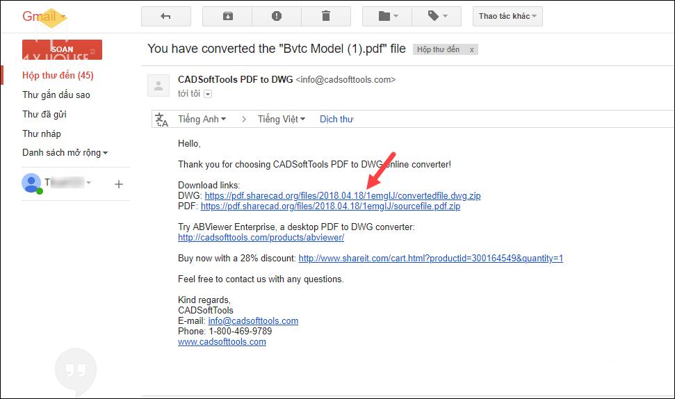 Chuyển PDF sang file Cad online