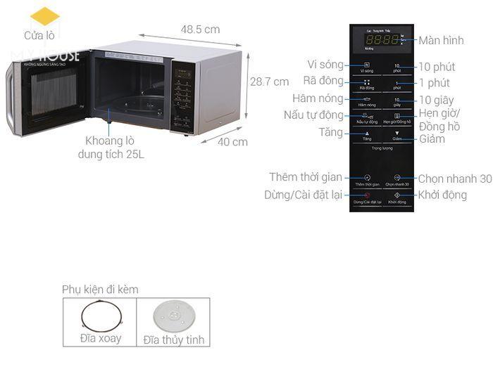 Kích thước tiêu chuẩn của lò vi sóng