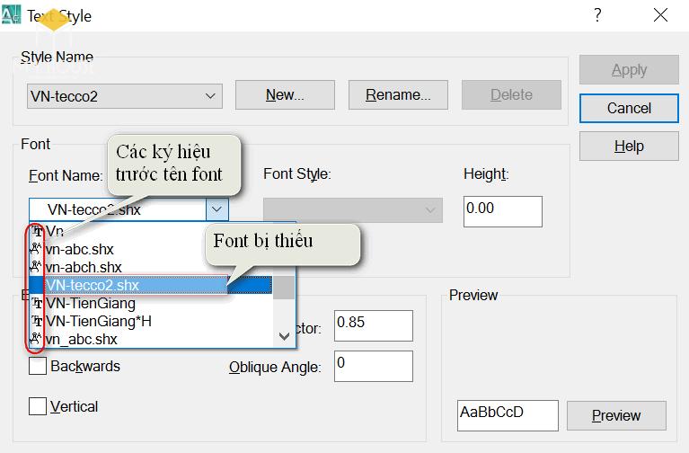 Tìm font bị thiếu Autocad