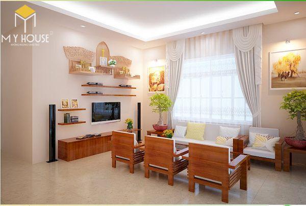 Phòng khách nhà cấp 4 đẹp - Hình ảnh 6