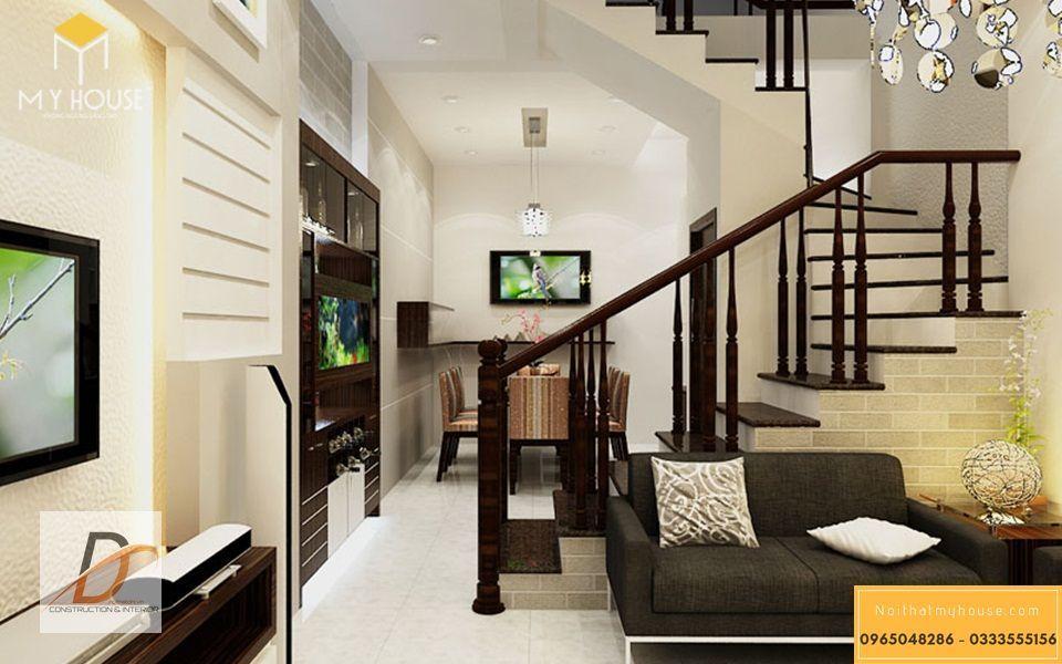 Trang trí phòng khách nhà ống bằng gỗ