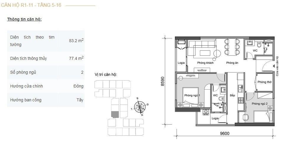 Mặt bằng căn hộ 2 phòng ngủ -4